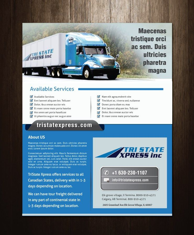 16 Professional Trucking Company Flyer Designs for a Trucking ...
