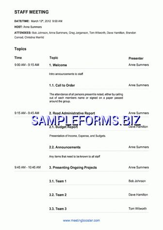 Staff Meeting Agenda Template & samples forms