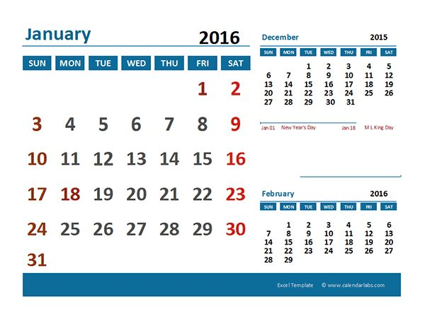 2016 Excel Calendar with Holidays - Free Printable Templates