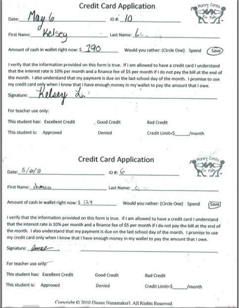 Classroom Credit Card Application | Credit card application ...