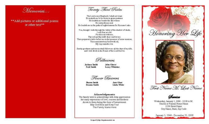 Trifold Funeral Program Template with Bible Verse or Poem : Helloalive