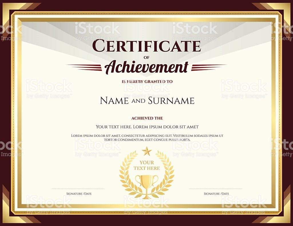 Elegant Certificate Of Achievement Template With Vintage Brown ...
