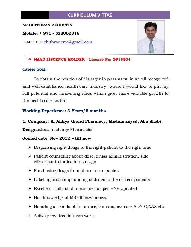 pharmacist resume format for freshers 12. retail pharmacist resume ...
