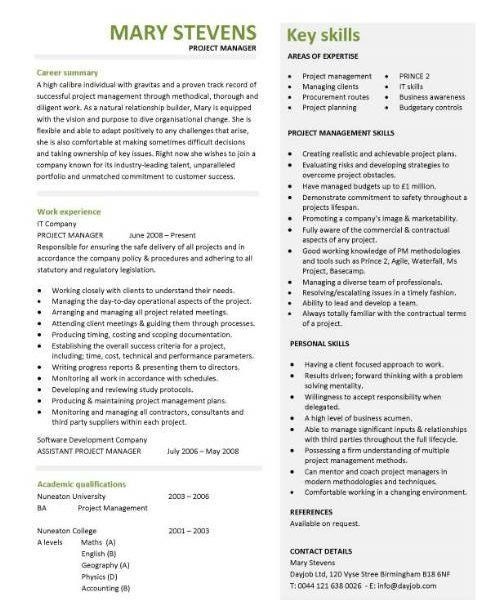 Smart Ideas Project Manager Sample Resume 14 Manager CV Template ...