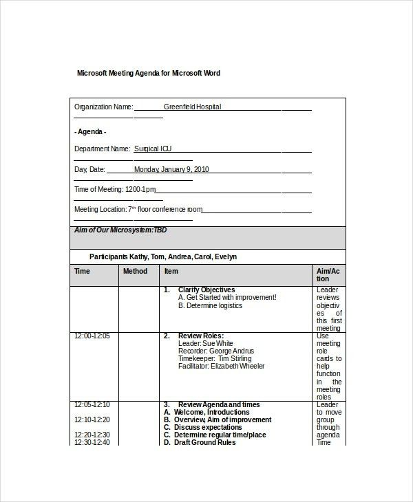template agenda word