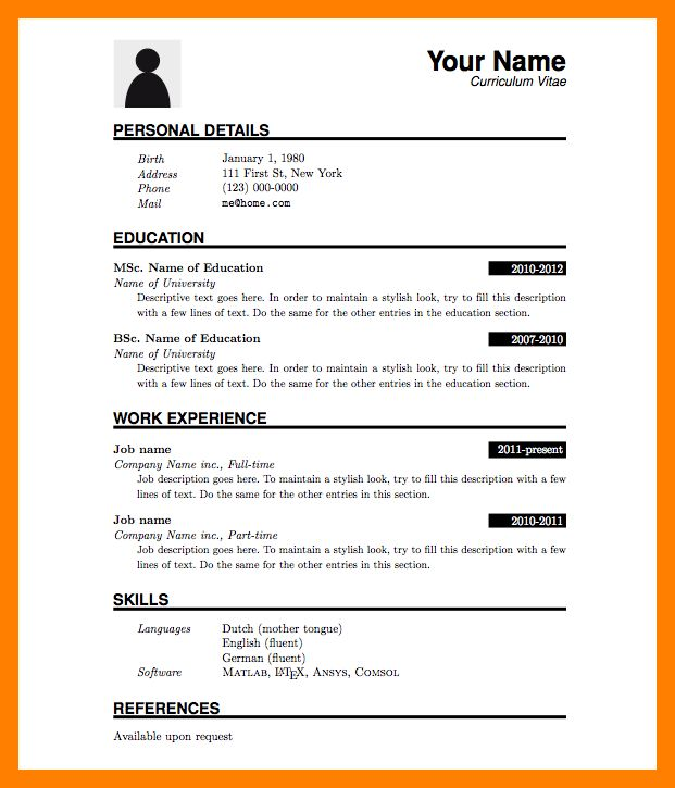 5+ simple resume format for freshers in word file | janitor resume