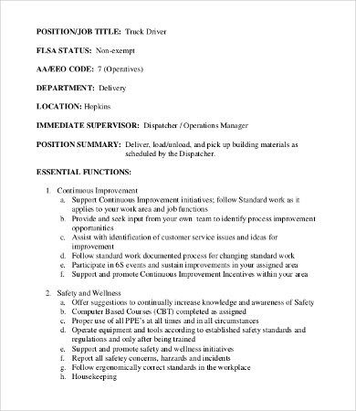Driver Job Description   8+Free PDF Documents Download | Free .