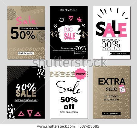 Set Social Media Sale Website Mobile Stock Vector 542178532 ...