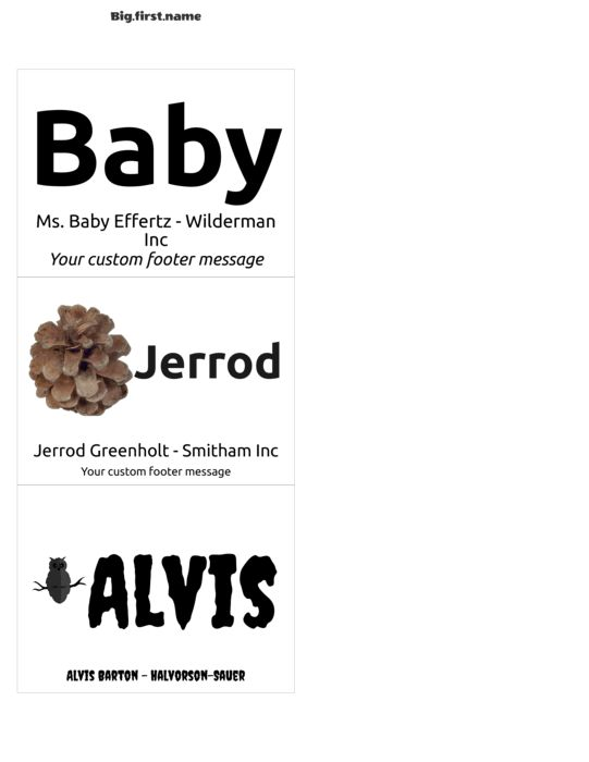 Avery 74520 Name Badge Inserts Compatible Template | Big.first.name