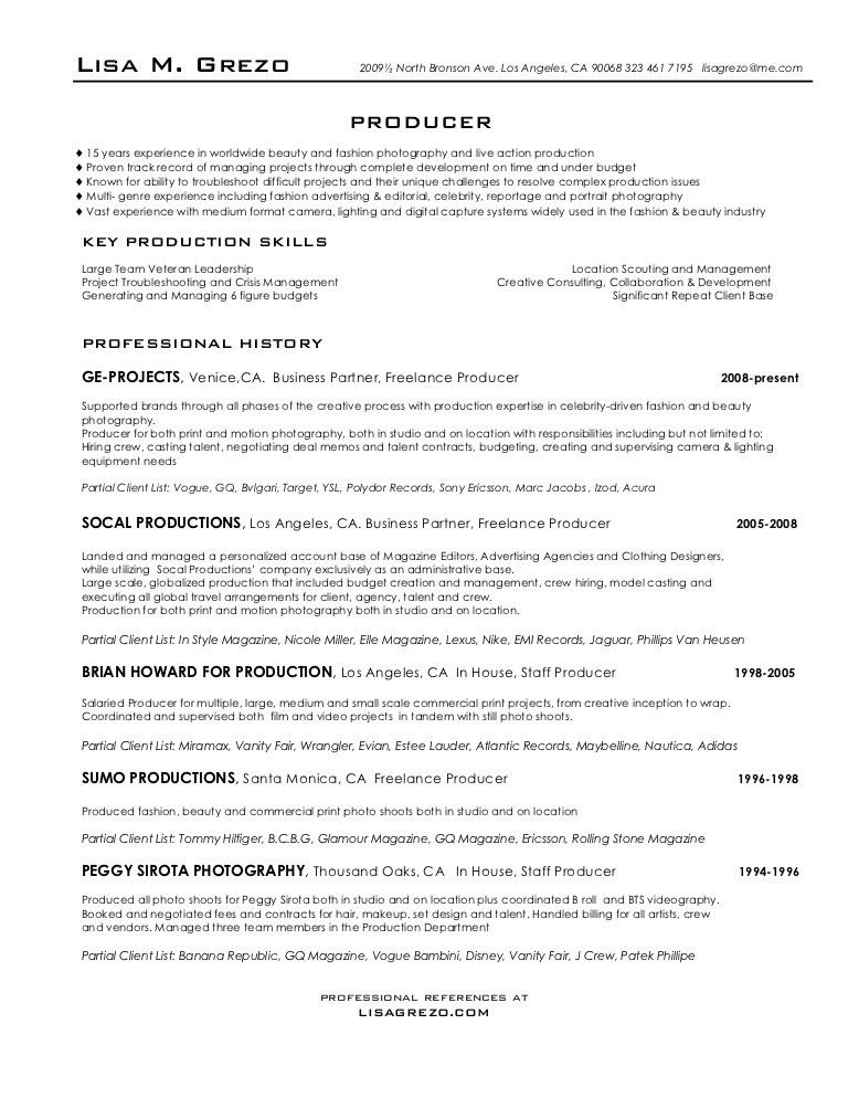 Producer resume