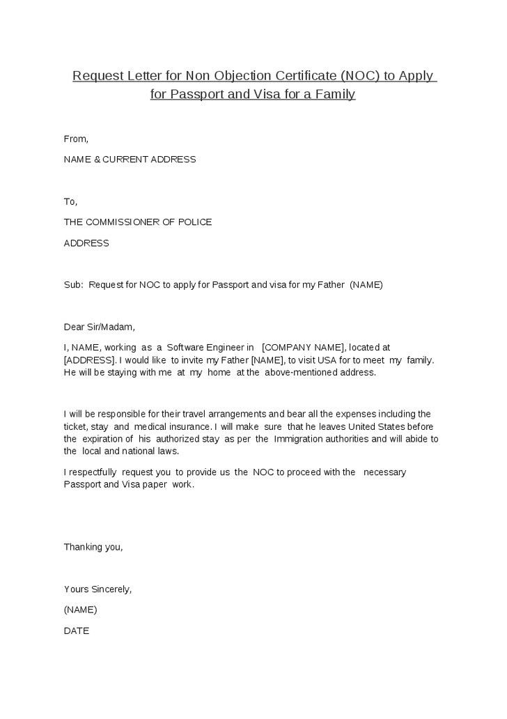 No Objection Certificate Letter Format - Best Template Collection