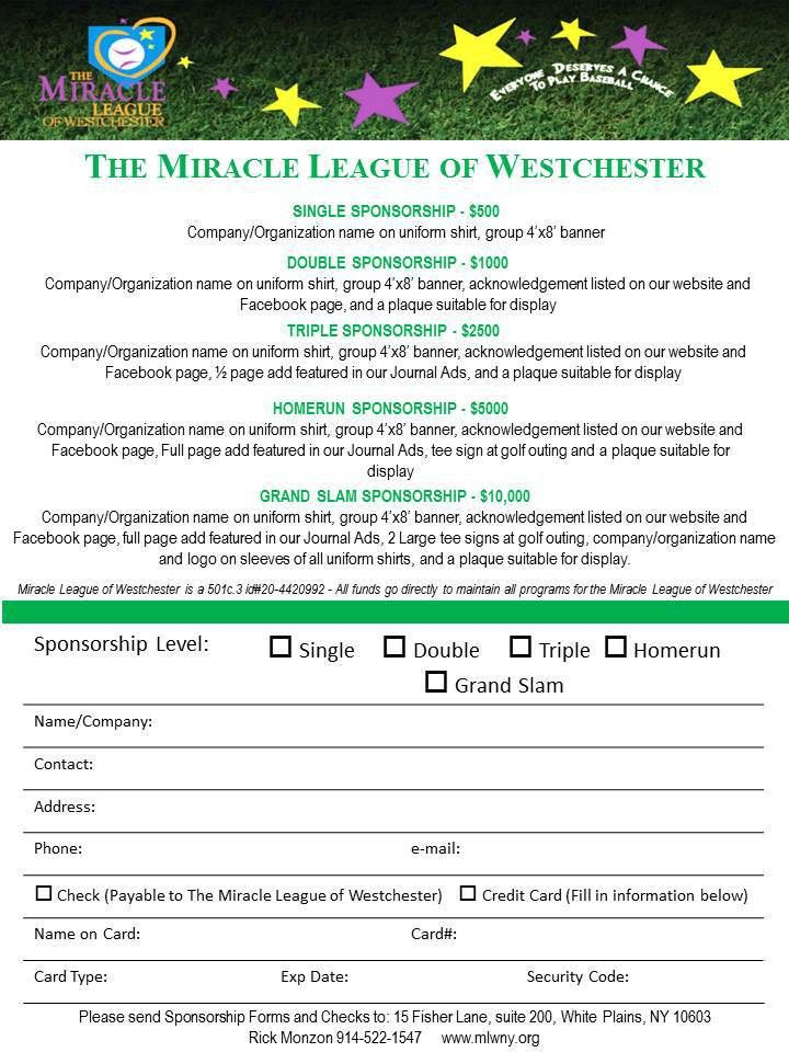 Sponsor the Miracle League of Westchester County, NY
