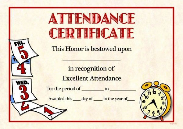 Doc.#960720: Free Printable Perfect Attendance Certificate ...