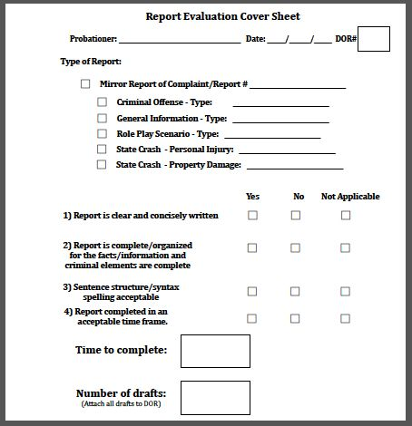 Report Evaluation Cover Sheet - YourPoliceWrite.com