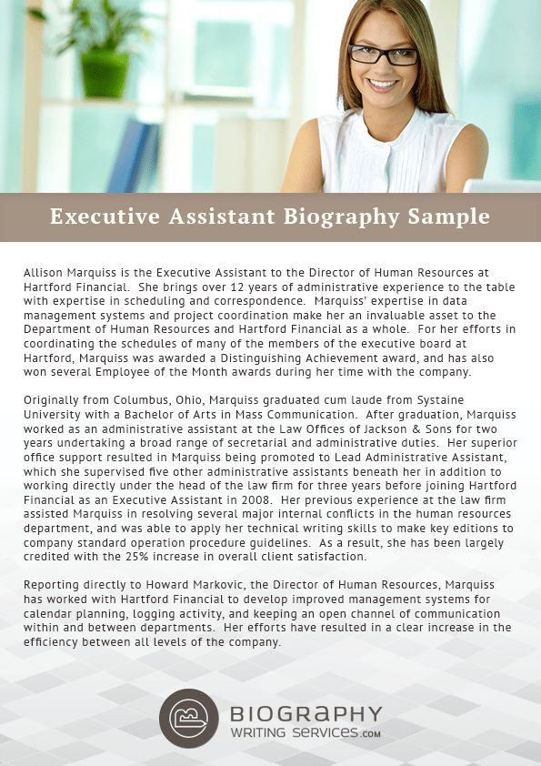 Executive Assistant Biography Samples | Biography Writing Services