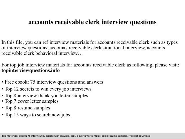 Accounts receivable clerk interview questions