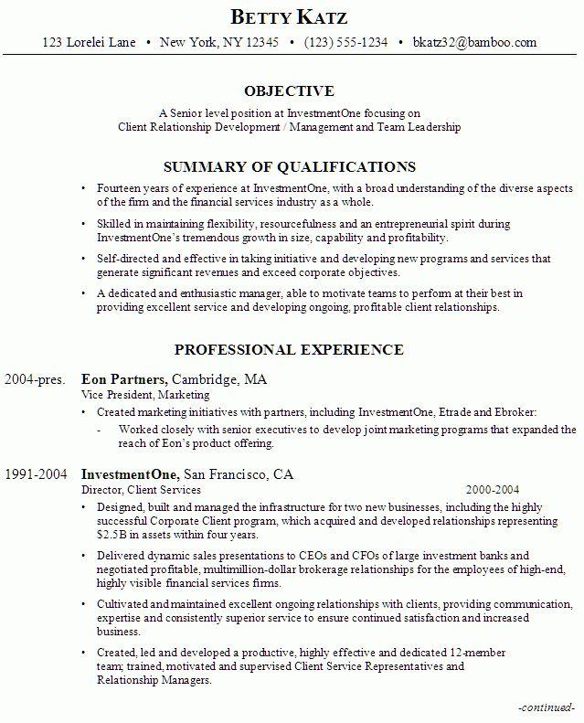 Resume: Senior Management, Investment Firm - Susan Ireland Resumes