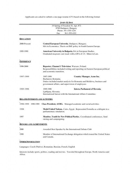 One Page Resume Example. One Page Sample Resumes One Page Sample ...