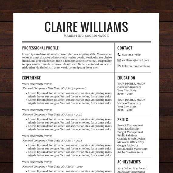 ☆ Instant Download ☆ Resume Template / CV Template for MS Word ...