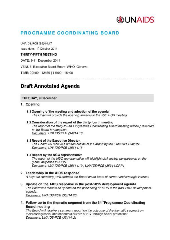 Draft annotated agenda | UNAIDS