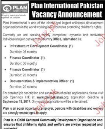 Plan International Pakistan Required Finance Coordinator 2017 Jobs ...