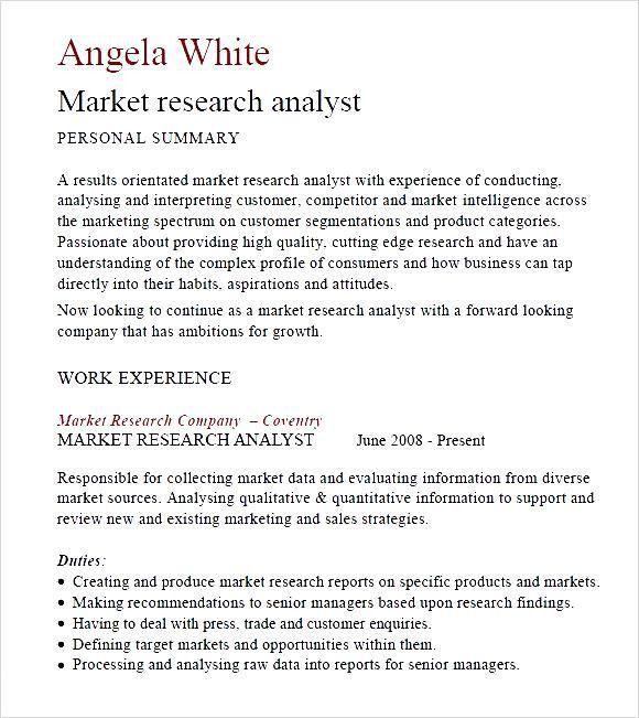 market re analyst resume example analyst resume entry level