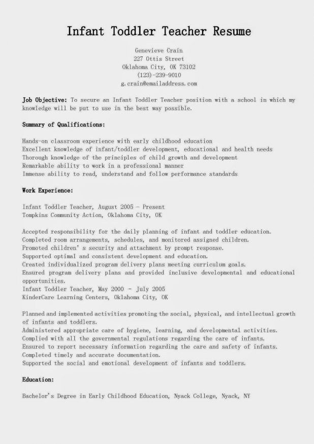 Infant Teacher Resume - Best Resume Collection