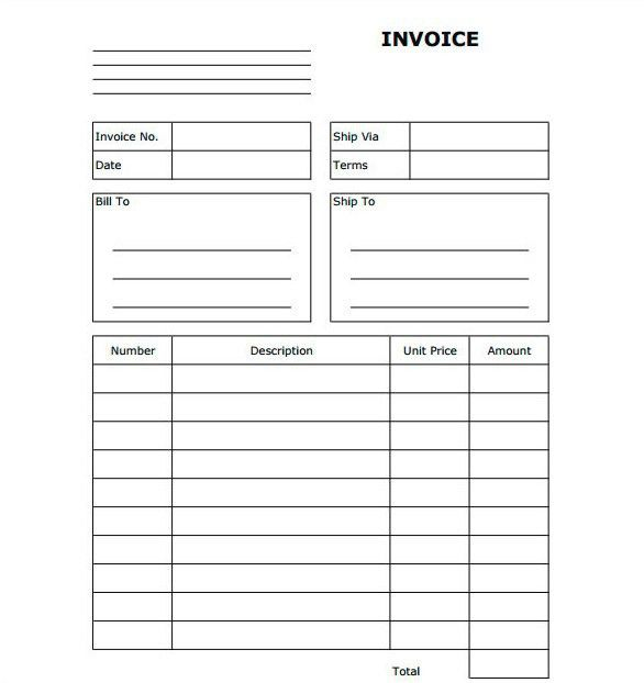 Blank Invoice Form Free | printable invoice template