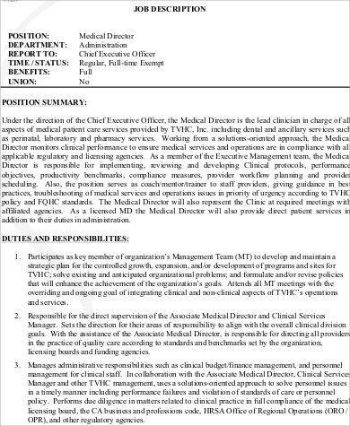Medical Director Job Descriptions. Regestired Medical Assistant .