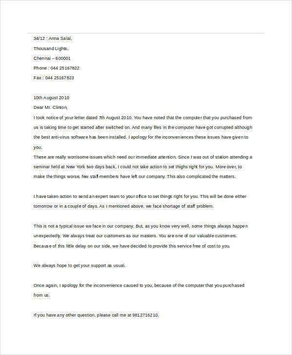 Sample Apology Letter Templates - 13+ Free Word, PDF Documents ...