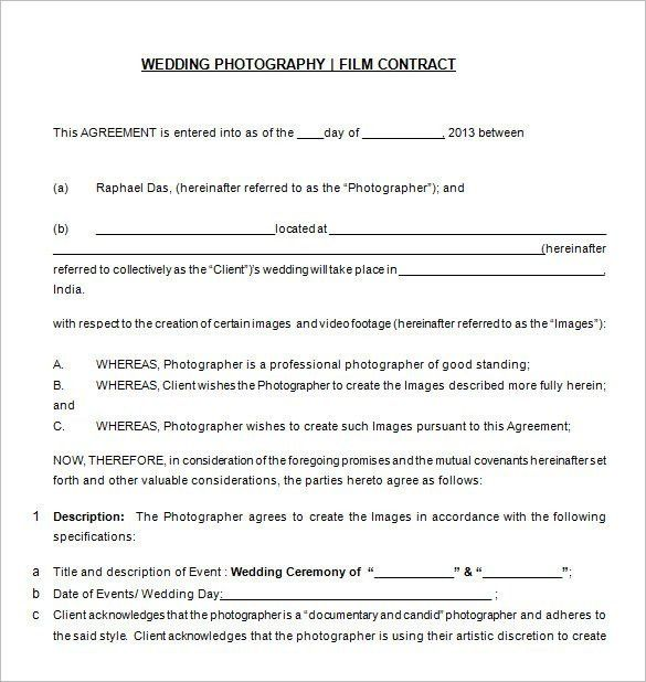 Photography Contract Template. Family Photography Contract Sample ...