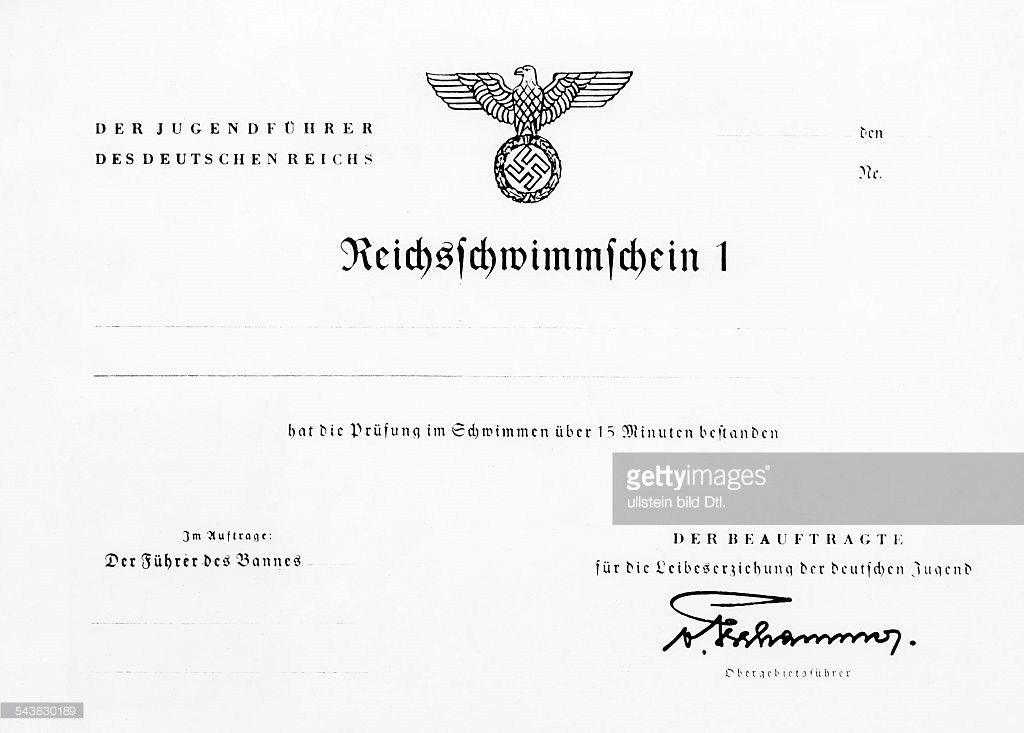 Germnay, Third Reich (1933-45), documents: swimming certification ...