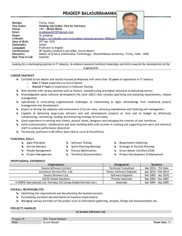 Pradeep scrum master cv
