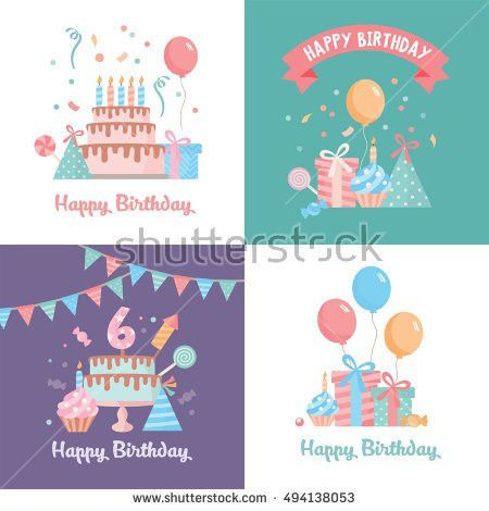 Set Happy Birthday Card Template Funny Stock Vector 494138053 ...