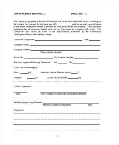 Construction Proposal Form Samples - 8+ Free Documents in PDF