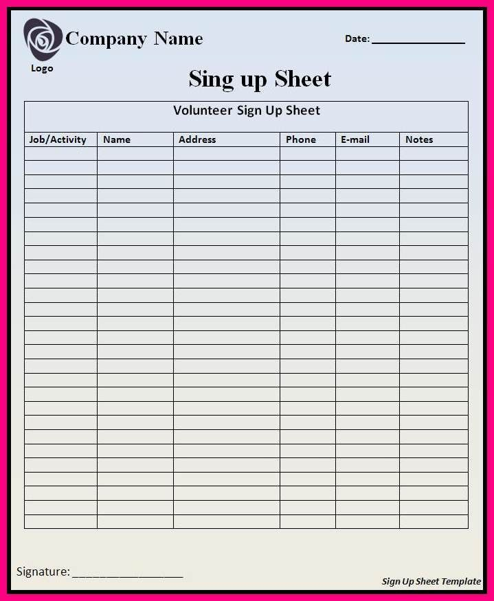 Excel Sign Up Sheet Template [Template.billybullock.us ]