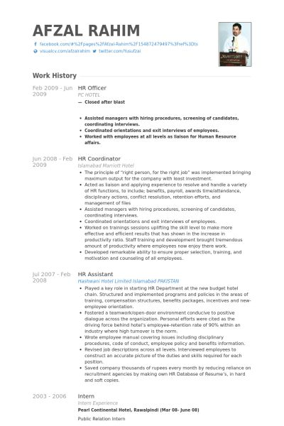 Hr Officer Resume samples - VisualCV resume samples database