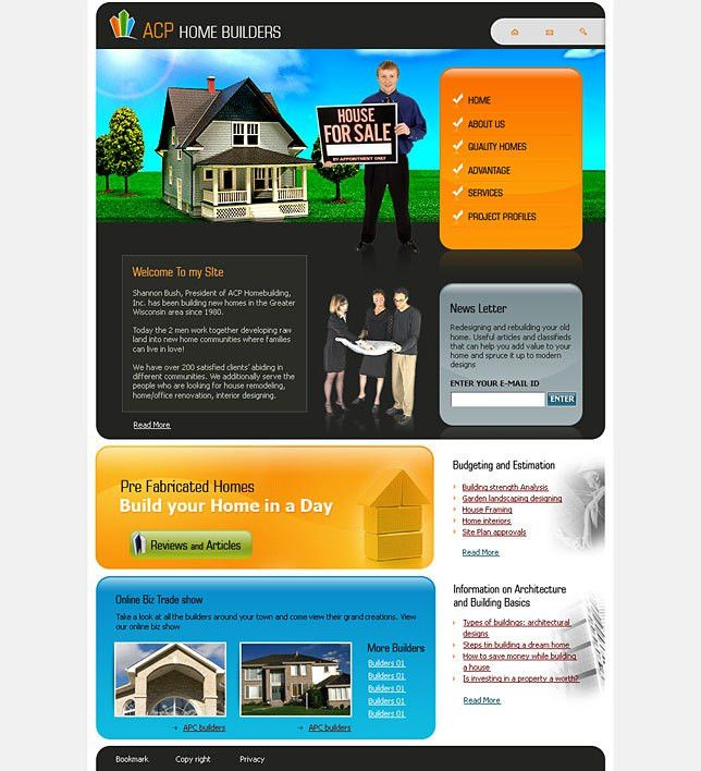 Website templates real estate for home builders