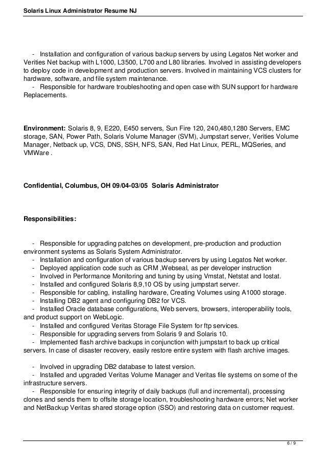 Solaris linux-administrator-resume-nj