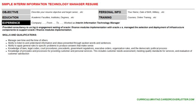 Interim Information Technology Manager Cover Letter & Resume