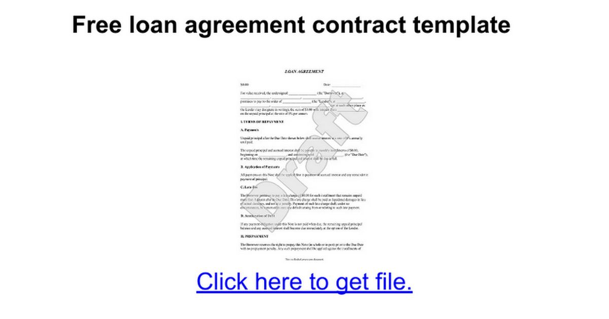 Free loan agreement contract template - Google Docs