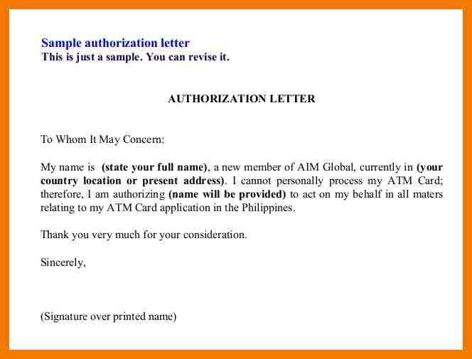 Authorization Letters Sample. Sample Of Authorization Letter .