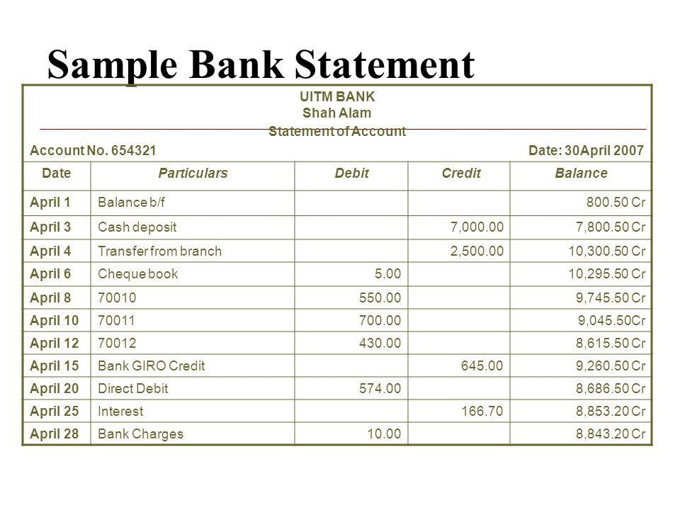 Bank Reconciliation Statement - ppt video online download