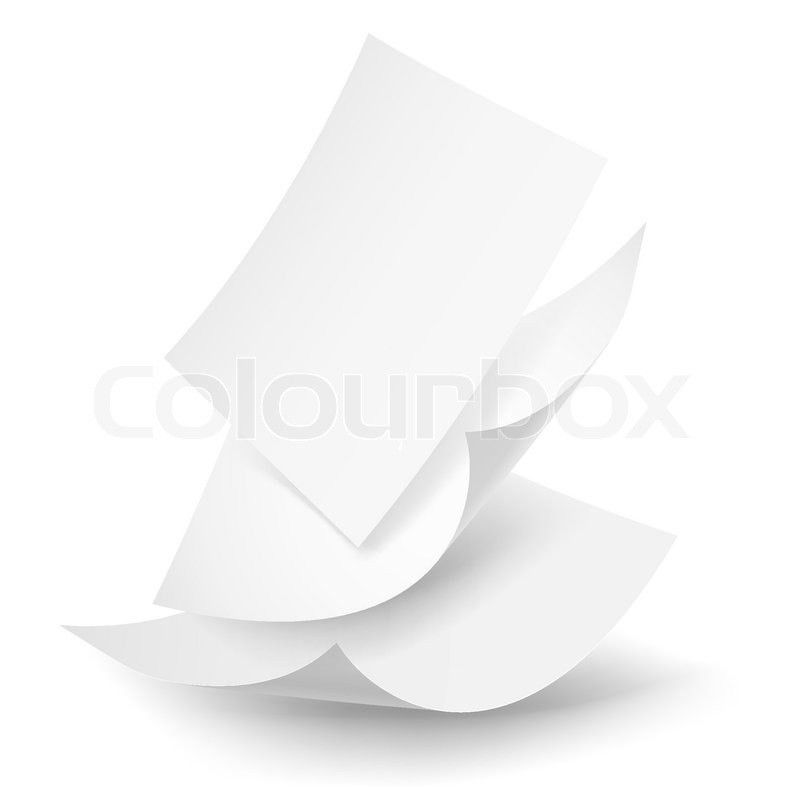Blank paper sheets falling down. Illustration on white background ...
