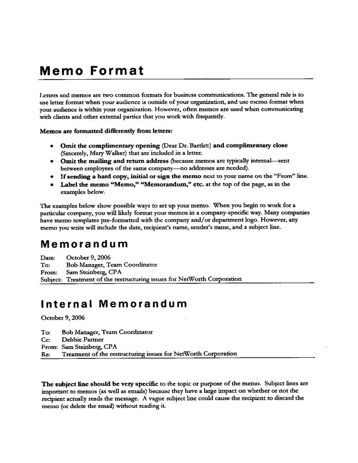 Memo Format Free Download