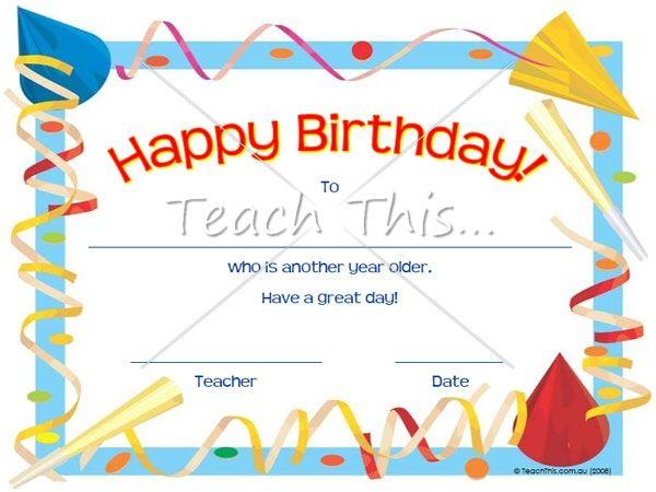 certificate birthday - Template
