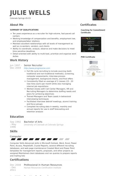 recruiter resume template hrrecruiter free resume samples blue