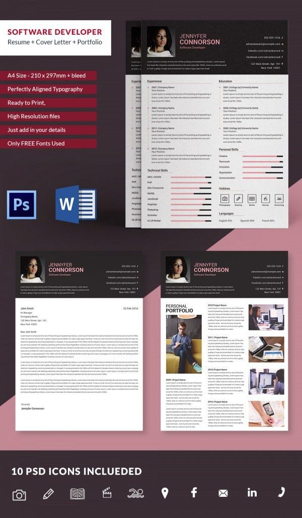 Software Developer Resume + Cover Letter + Portfolio Template ...