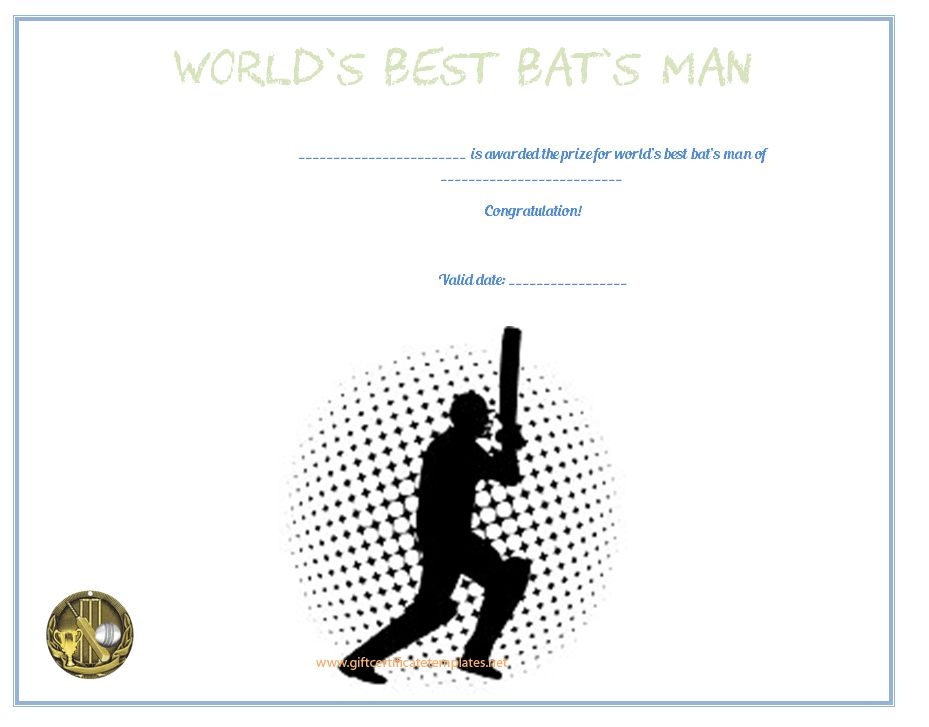 Best BatsMan Award Certificate Template - Free Certificate Templates