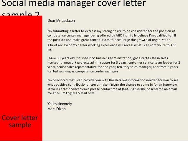 Social Media Manager Cover Letter  Social Media Manager Cover Letter